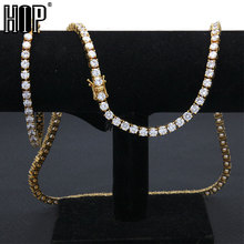 Hip Hop 3/4/5 MM Bling Iced Out 1 Row Tennis Chain AAA CZ Stone Gold Silver Cubic Zircon Necklaces For Men Jewelry