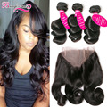 360 Lace Frontal With Bundles Peruvian Loose Wave 3 Bundles With Frontal Loose Curly Peruvian Virgin Hair With Frontal Closure