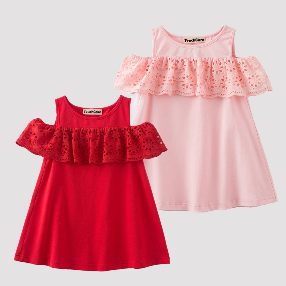 Baby Lotus Leaf Collar Off-Shoulder Dresses Red Newborn Girls Summer Clothes Infant Birthday Outfit Girl Christening Party Dress