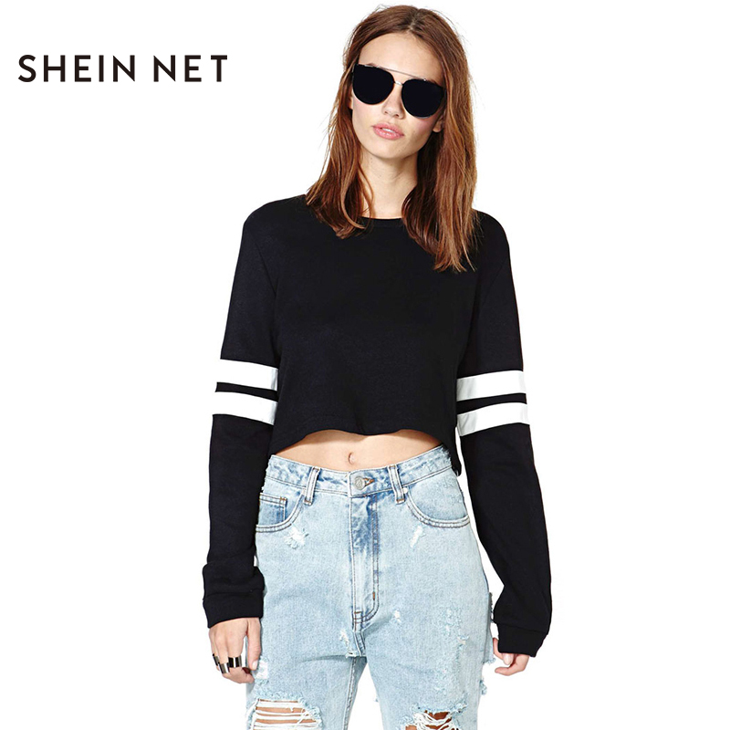 5b80f3eca7e76d Sheinnet Spring Black White Stripe Long Sleeve Crop T shirt Knitted Rib  Collar and Sleeve Shirts Leisure Crop Top Camisetas-in T-Shirts from  Women s ...