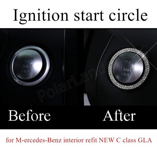 Для M-ercedes-Benz установите НОВЫЙ c-класса GLA Автомобиля Двигатель Start Stop Кнопка Зажигания Кольцо Стикер Украшения наклейка 3 цвета