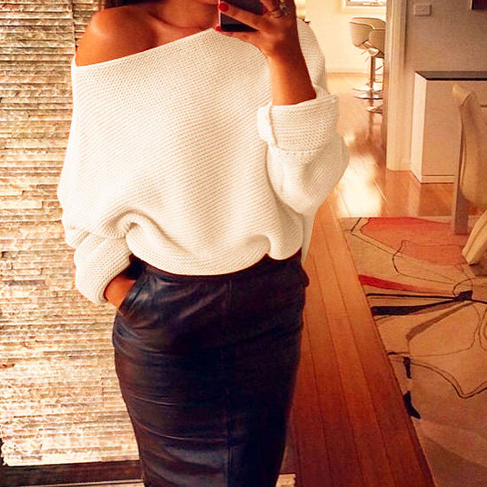 2017 New Fashion Women's Sweater Sexy Off The Shoulder Chunky Knit ...