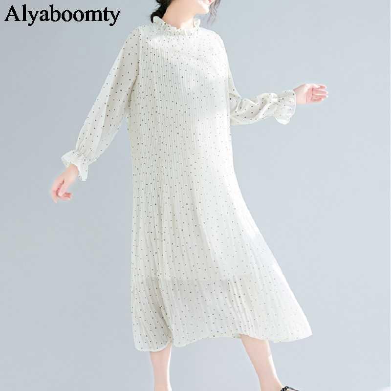 Большие размеры, весна-лето, женское длинное платье, черный, бежевый, в горошек, выше размера d, женские платья, элегантные шифоновые плиссированные корейские платья