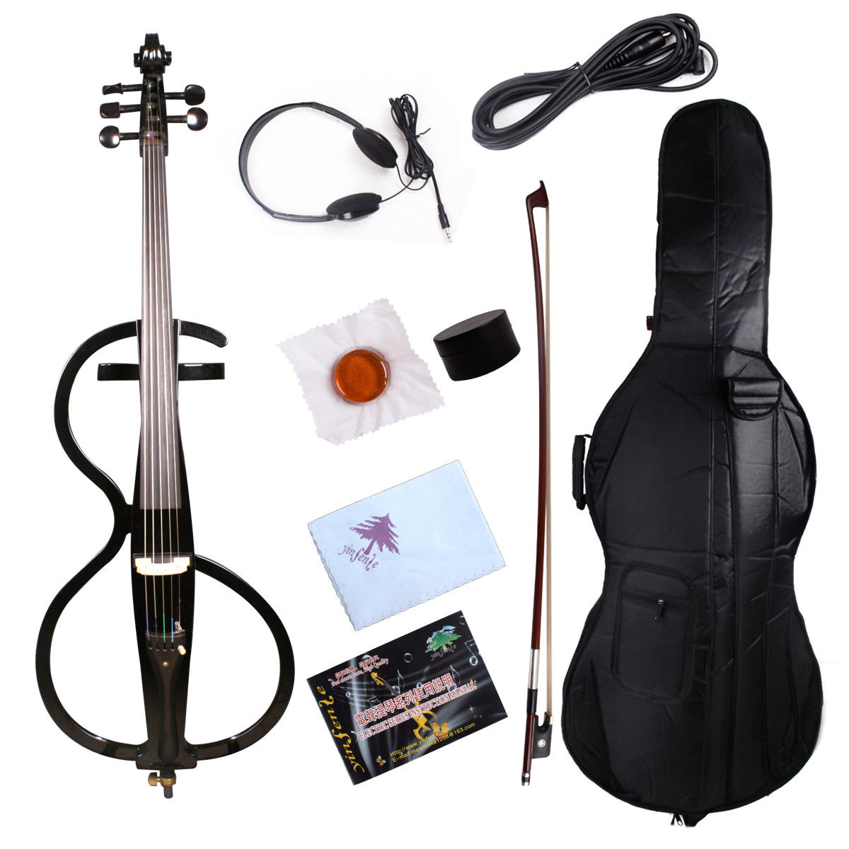 Yinfente 5 String Electric Cello 4/4 Black Cello Solid wood Sweet Sound bag Bow cello electrico