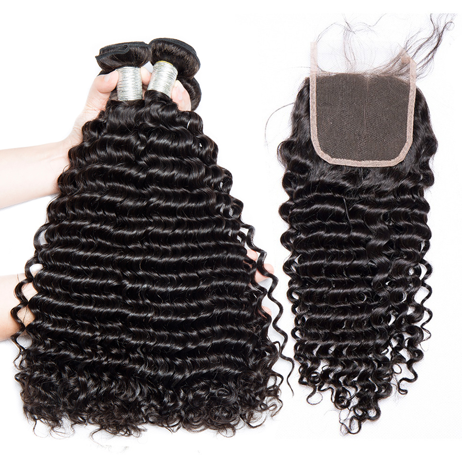 Alibele Peruvian Deep Wave Hair Bundles with Closure 4x4 Lace Closure with 3 4 Bundles Virgin
