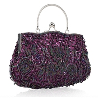 1d3f97f85f26 Women S Vintage Kiss Lock Beaded Sequin Flower Evening Bag Clutch Wedding  Purse