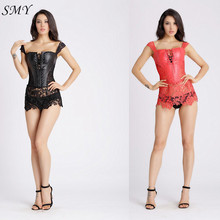 Red black mature women Leather steampunk corselet gothic clothing slimming party corsets Sexy lingerie Corset