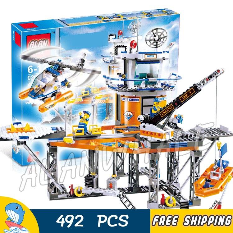 492pcs City Deep Sea Coast Guard Boat Helicopter 02070 Model Building Blocks Assemble Bricks Children Toys Compatible With Lego