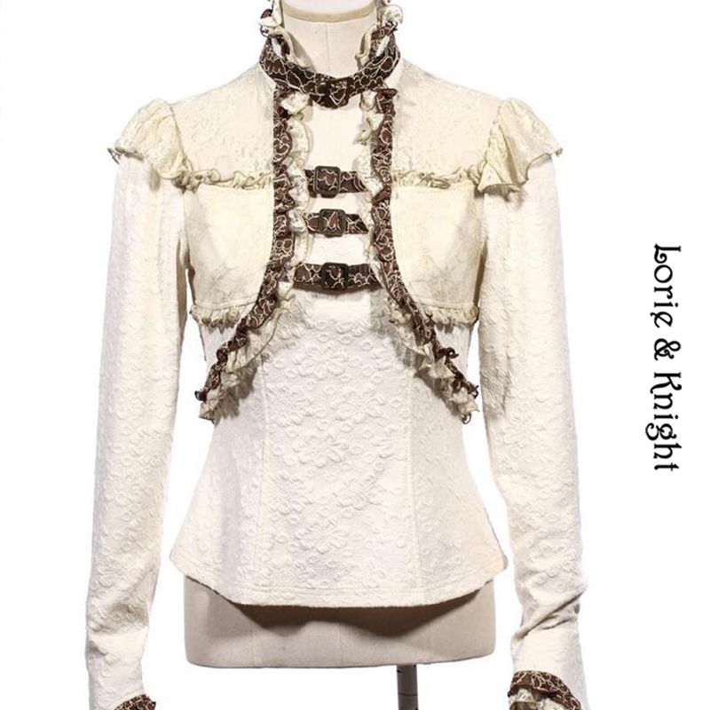 Victorian Steampunk Ruffled Buckle Top Long Sleeves White font b Blouse b font SP156WI