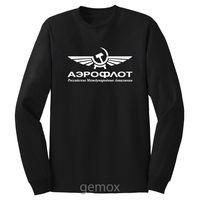 Aeroflot Russian Airlines Long Sleeve T Shirt Sz S 5XL