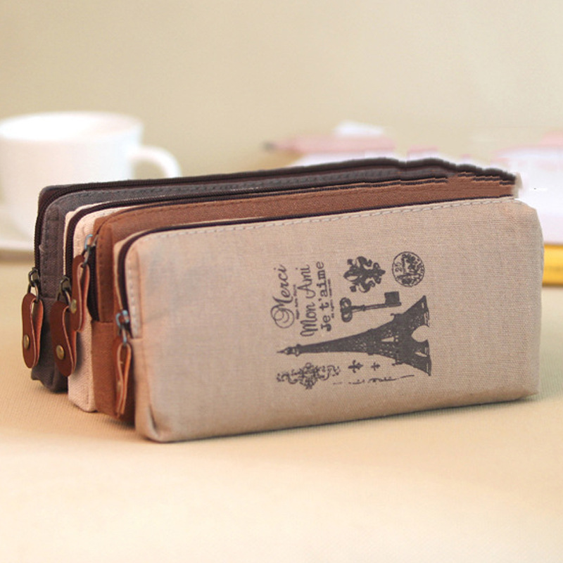 2016 High Quality School Stationary Kawaii Soft Canvas Students Pencil Case Literary Vintage Tower Pattern Storage Bags