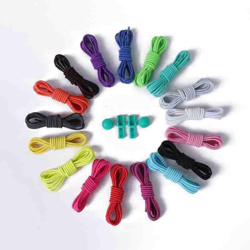 คู่ของล็อครองเท้าLacesยางยืดเชือกผูกรองเท้ารองเท้าS Hoestringsทำงาน/วิ่ง/ไตรกีฬา12สี