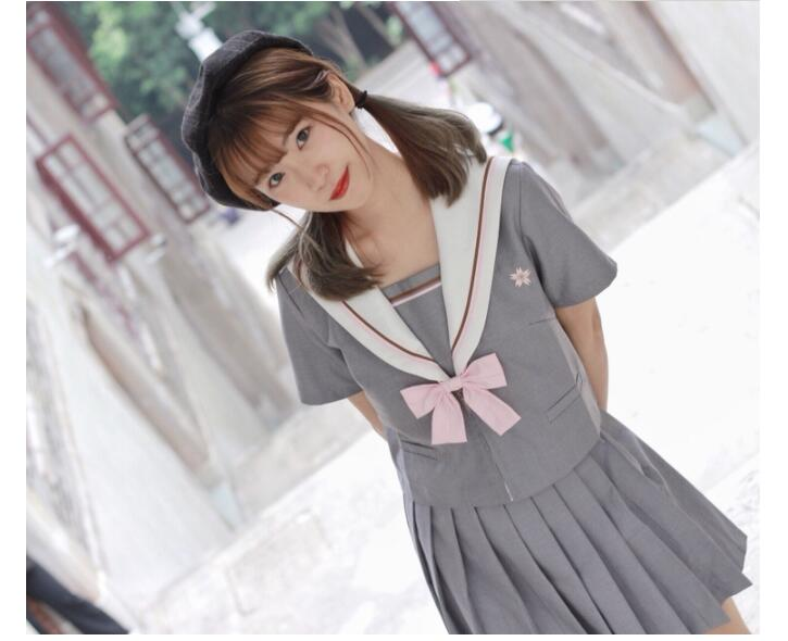 10pcs Japanese Style School Uniform Girls Sakura Embroideried 2019 Spring High School Student Sweet Women Novelty Sailor Suits