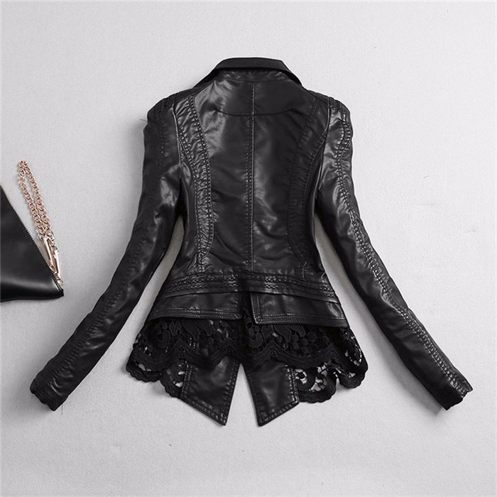 V-neck Lace Patchwork Leather Women Jacket