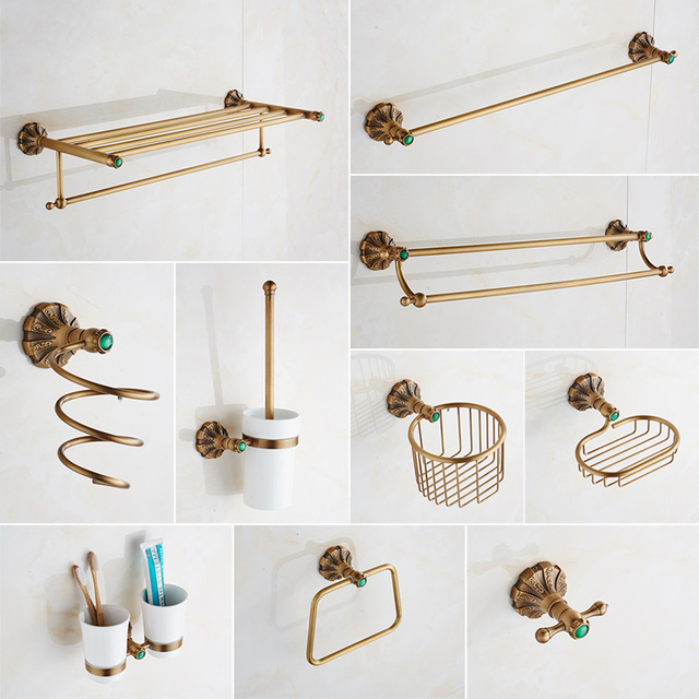 Bathroom Accessories Set Retro Antique Brass Bath Toilet Paper