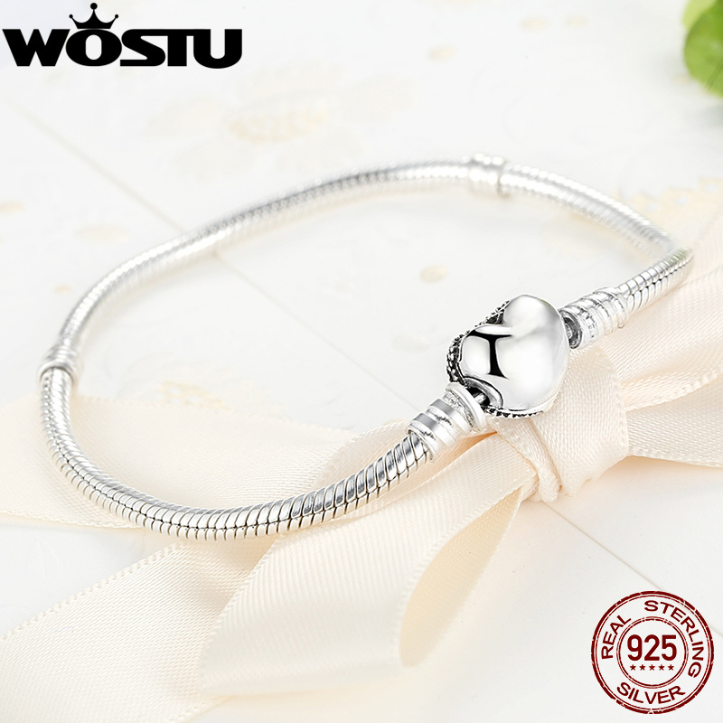100% 925 Sterling Silver Heart Chain Charm Beads Fit Bracelet Charm for Women Authentic Original Fine Jewelry XCHS906