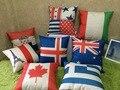 Подушка из льна и хлопка с флагом США/Юнион Джек/Франция/Италия/Швейцария/шотланд/Германия/Австралия/Канада для домашнего декора