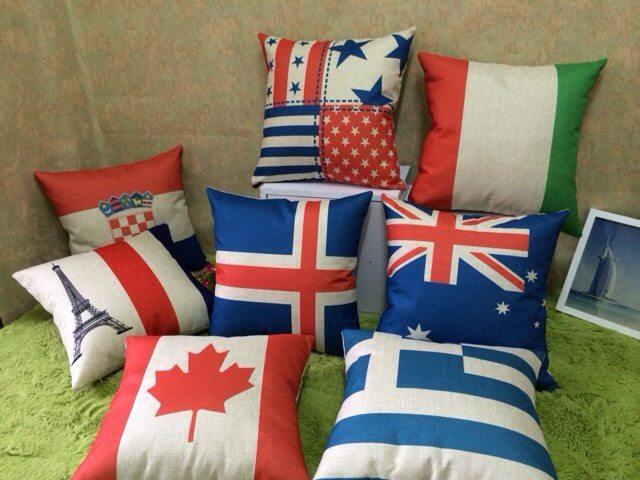 Us Union Jack France Italy Switzerland Scotland Germany Australia Canada Flag Home Decor Cushion Linen Cotton Pillow