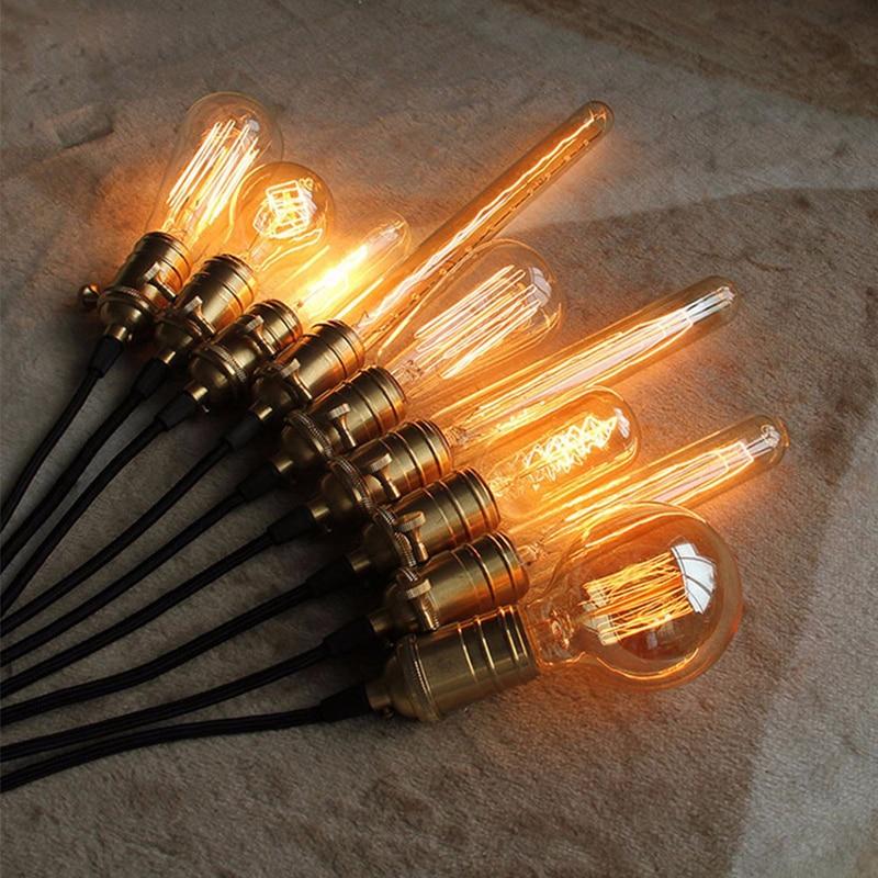 Europeu loft vintage edison lâmpadas st64/g95/g80 e26/e27 lâmpadas incandescentes 110 v 220 v filamento edison lâmpada pingente lâmpadas