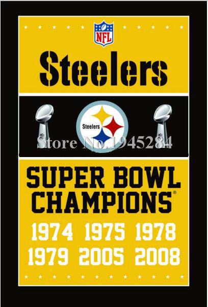 NFL Pittsburgh Steelers Super Bowl Champions Flag Banner New 3x5ft 90x150cm 100D Polyester Flag, free shipping
