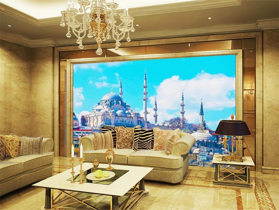 US $14.7 51% OFF|Benutzerdefinierte 3d fototapete wohnzimmer wandbild  Islamischen kirche landschaft malerei TV sofa hintergrund vliestapete für  wände ...