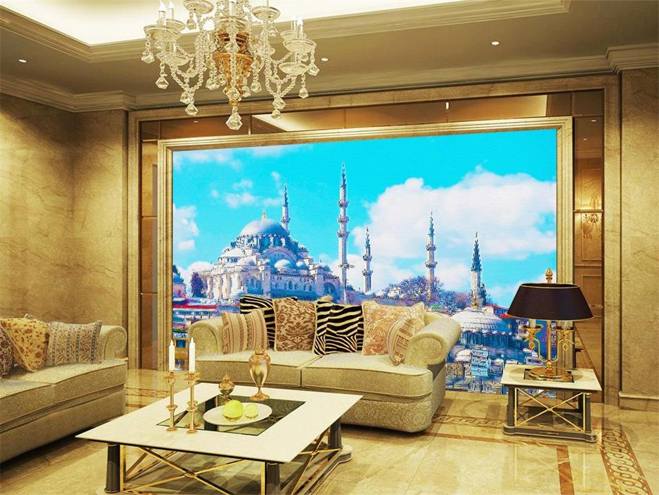 living background islamic 3d tv wall scenery church mural sofa painting custom non landscape woven wallpapers walls