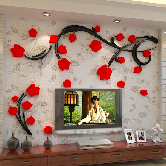 New Flower Vine Crystal 3D Acrylic Wall Stickers Living Room Sofa TV  Background Wall Decoration Plant