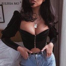 JULISSA MO ชุดราตรีสีดำเซ็กซี่สั้นเสื้อยืดผู้หญิงกำมะหยี่พัฟแขน Cropped เสื้อ TEE หญิงกำมะหยี่ฤดูร้อน Crop TOP