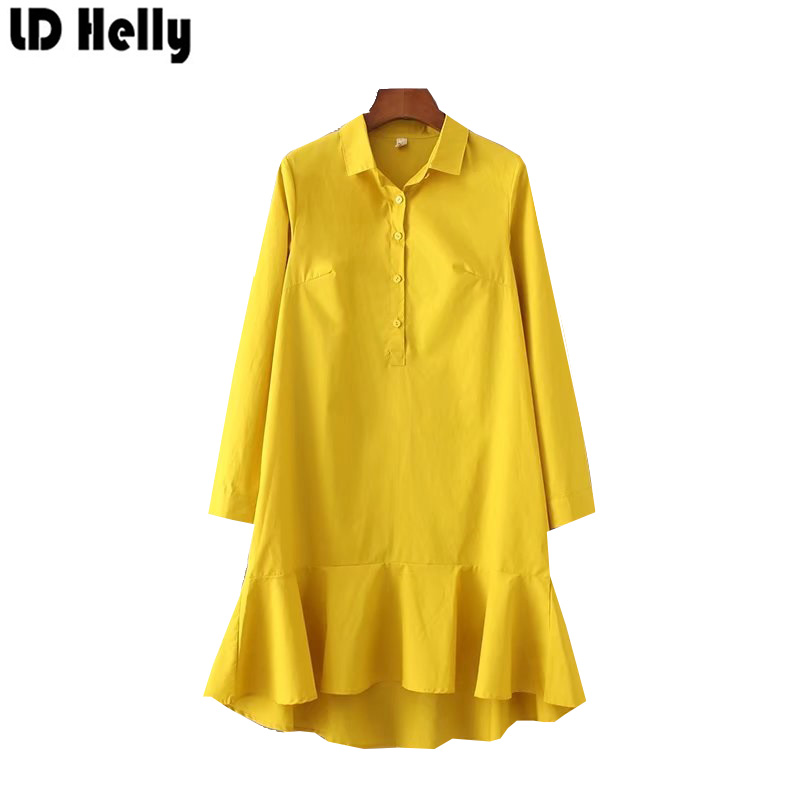 LD Helly Autumn 2017 Womens Yellow White Turn Down Collar Long Sleeve Mermaid Dress Fashion Solid Trumpet Desses Vestidos Mujer
