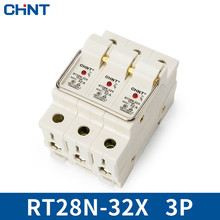 цена на CHINT Cylinder Form Fuse Base RT28N-32X 3P Guide Type Bring Indicator Light Match RT18-32