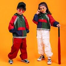 Traje de baile de Jazz Hip Hop para niños y niñas traje de baile callejero estilo coreano, ropa de baile callejero Pop