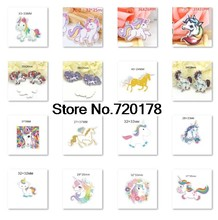 30pcs/50pcs 16styles Popular cartoon Unicorn plastic flat back planar resin for DIY Craft Supplies JOR04(China)