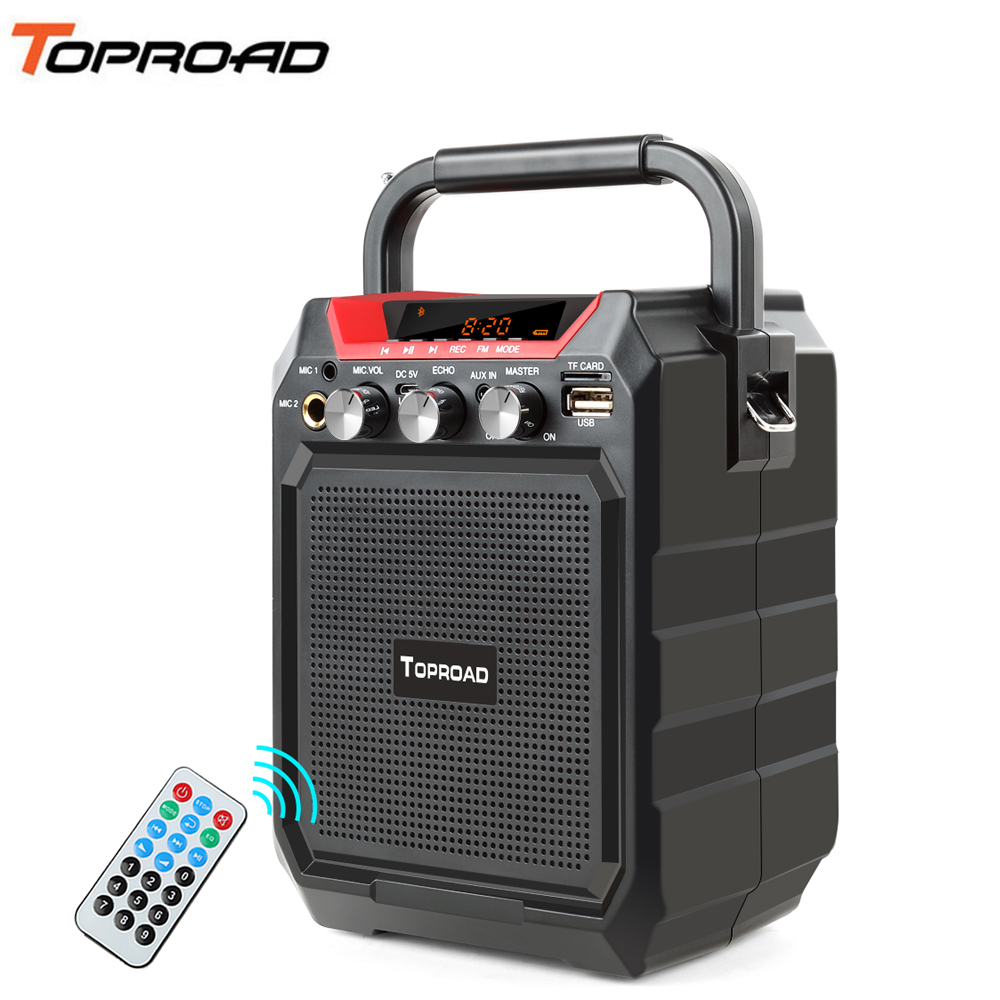 TOPROAD Portable Bluetooth Speaker Heavy Bass Wireless Stereo Speakers Support TF AUX FM USB Shoulder Strap