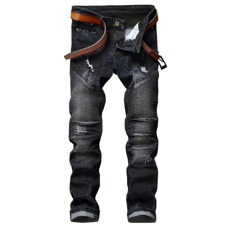 ABOORUN Mens Black Biker Jeans Elastic Ripped Jeans Nightclub Pleated Denim Pants Mens Urban Clothes Y1077 havaianas urban jeans grey black