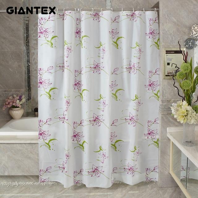 GIANTEX Purple Lily PEVA Bathroom Waterproof Shower Curtains With Plastic Hooks U1091