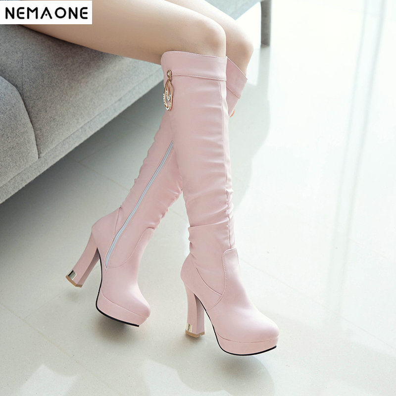 GLTER Women Pointed Leather Boots 2018 Winter Fashion High-Heeled Knee Boots Size 32-43