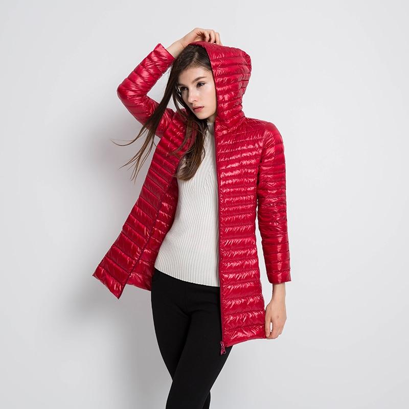 New Autumn Winter Casual Slim Long   Down     Coat   Women Ultra Light 90% White Duck   Down   Jacket Windproof Hooded Outwears Female Mw536