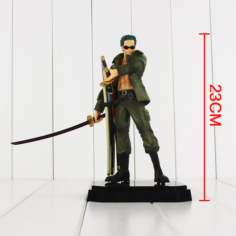 23cm Onepiece Solon Roronoa Zoro Military Style One piece PVC Action Figure Doll Army Installed Collectible Model Anime