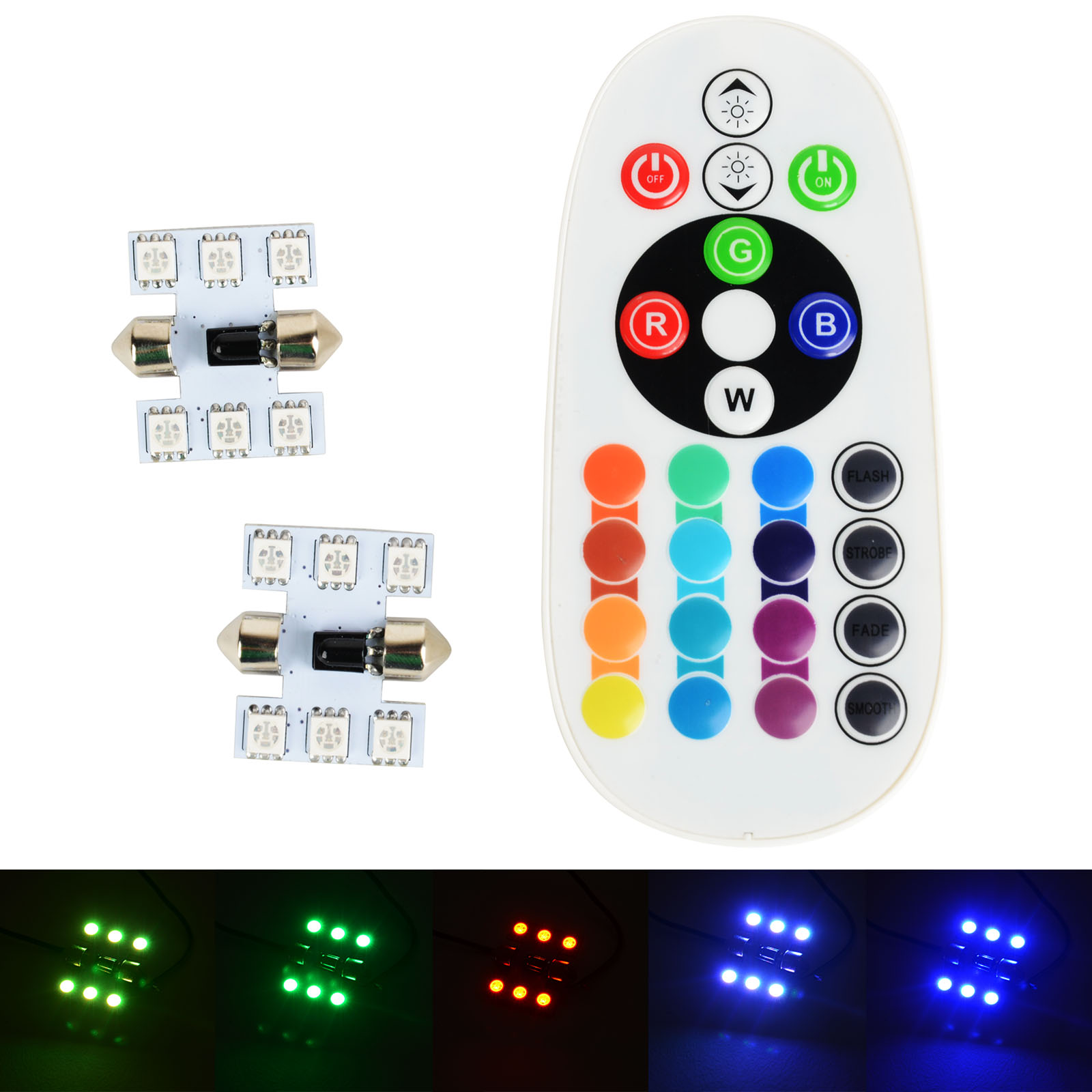 Mayitr 1 Pair 30mm Festoon RGB Multi Colors Changing LED Lamp Bulb Colorful Auto Car Light with Remote Control