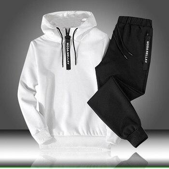 Ensembles survêtement hommes automne hiver sweat à capuche cordon tenue Sportswear 2019 costume masculin pull deux pièces ensemble décontracté