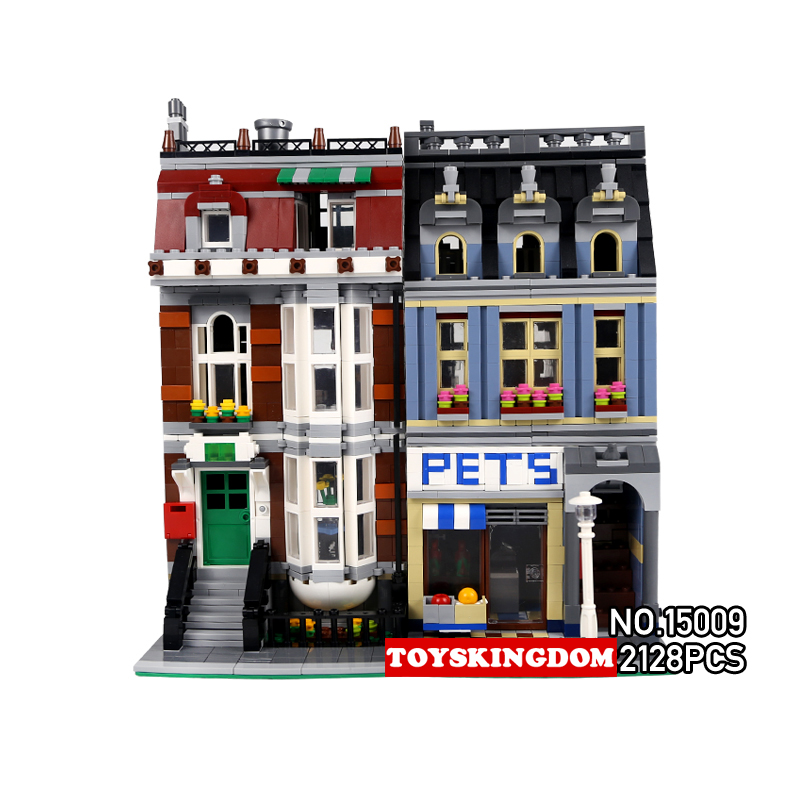 Hot builders creator city street view pets store building block animals dog cat Clerk figures bricks 10218 toys for children decool 3114 city creator 3in1 vehicle transporter building block 264pcs diy educational toys for children compatible legoe