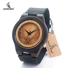 Bobo bird correa de cuero negro de madera diseño hueco reloj de los hombres de lujo marca de relojes de cuarzo reloj de pulsera relogio masculino c-b18