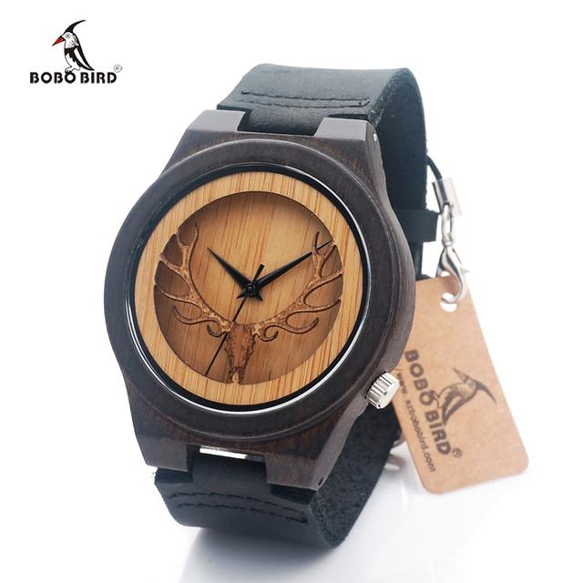 Nuevo 2017 reloj de los hombres correa de cuero relojes de cuarzo dial diseño hueco de madera bobo bird c-b18 hombre reloj relogio masculino