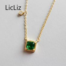 LicLiz New 925 Sterling Silver Green Square Zircon Pendant Necklaces for Women 18K Gold Link Chain Round Clear CZ Jewelry LN0440 цена