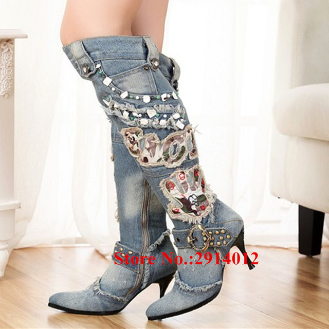 bea5275ca3c Fall Winter Cowgirl Motorcycle Boots Blue Demin Studded Belt Buckle  Appliques Over The Knee Boots High Heels Thigh High Boots