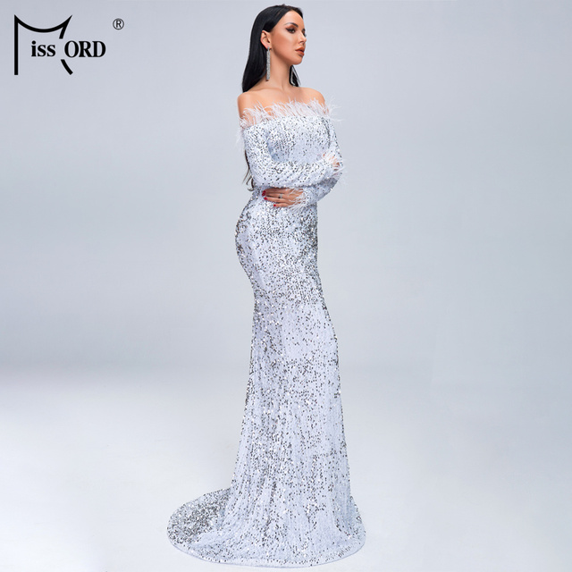 Missord 2019 Women Sexy Off Shoulder Feather Long  Sleeve Sequin floor length Evening  Maxi Reflective Dress Vestdios  FT19005-1 2