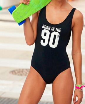 Fashion Clothing Sexy One Piece Jumpsuit Swimsuit Born In The 90's Funny Bodysuit Swimwear Beachwear Bathing