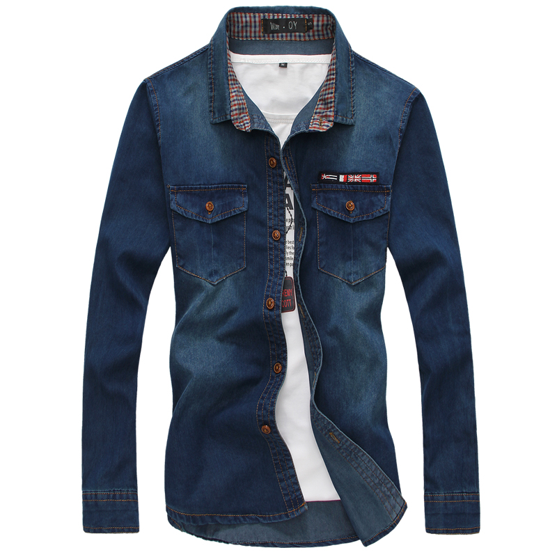 TANG 2019 Blue Mens Long Sleeve Denim Shirts Autumn Sell Well Cotton Shirt Male Large Size S - 5XL