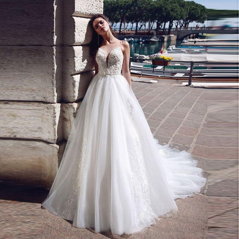 Aliexpress Com Buy Vestido De Noiva 2017 A Line Beach: Vestido De Noiva 2019 Spring Design A Line Wedding Gowns V