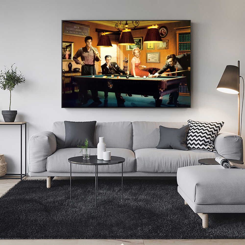 Movie Star Of Elvis And Marilyn Monroe Wall Poster And Prints Playing Snooker Canvas Art Painting For Living Room Bar Wall Decor